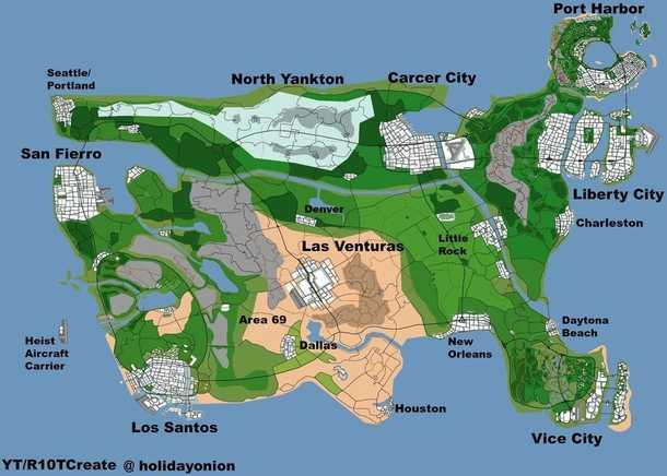 Фанат разработал концепт карты GTA 6 с городами из всех частей серии