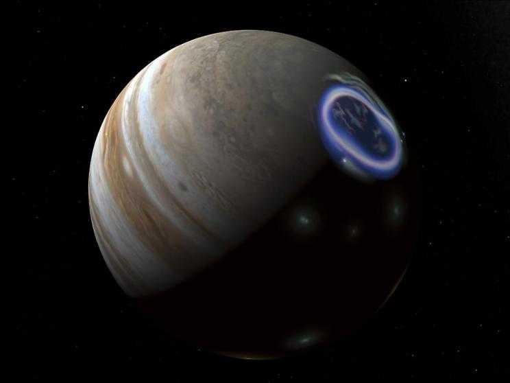 Впервые показано зарождение полярного сияния на Юпитере